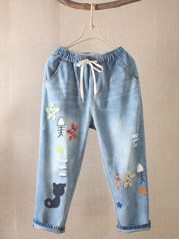 Embroidered Casual Ripped Jeans