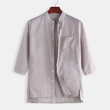 Men's Cotton Casual Slim Mandarin Collar Shirts