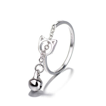 Fashion Silver Cat Bell Opening Ring