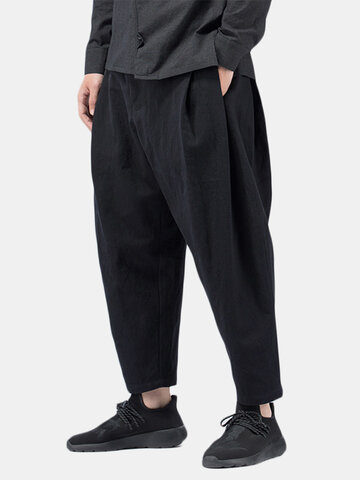 Multi-Fold Cotton Linen Casual Harem Pants