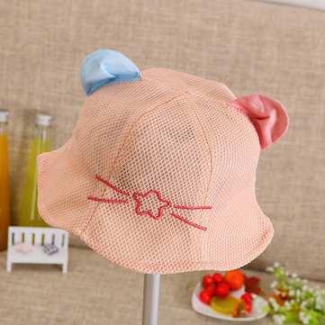 8039174e7fb Kids Child Summer Mesh Sun Protective Dome Bucket Hats Cat Beard Design  Fisherman Ear Caps