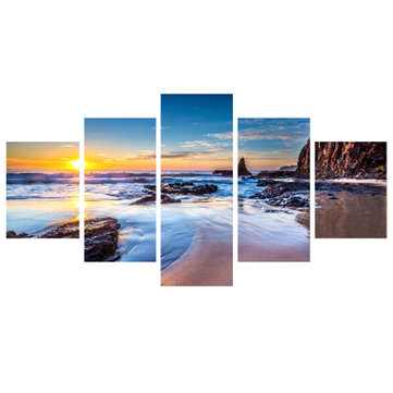 5PCS Sea Beach Sunrise Agrandissement de la peinture à l'huile Modern Landscape Canvas Wall Art Living Room Home Decor