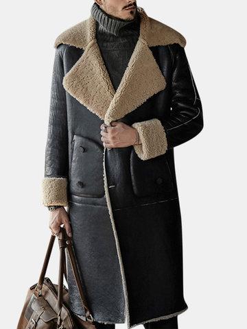 Mens Casual Mid-Long Fleece Lapel Leather Shearling Coat