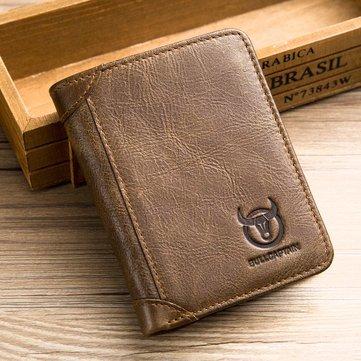 Bullcaptain Cowhide Short Wallets Vintage 8 Card Holder