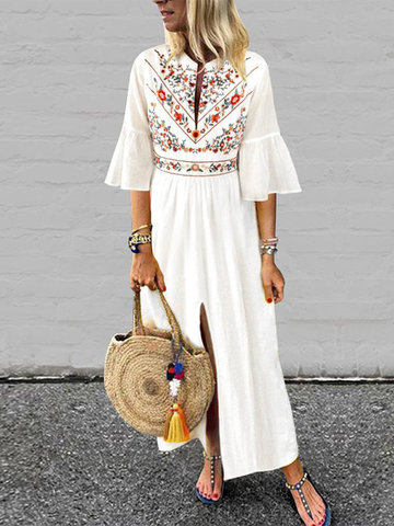 Bohemian Print Ruffle Dress