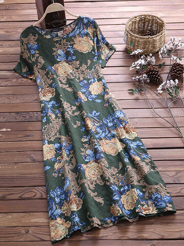 Vintage Floral Printed O-Neck Short Sleeves Dresses, Coffee navy green