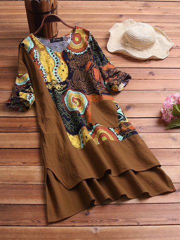 Patchwork High Low Hem Print Dress
