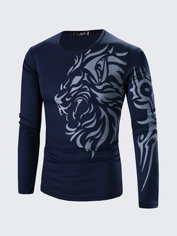 79e79d950a6 Mens Long Sleeve T-shirt Dragon Tattoo Printing Quick-dry Casual Fall  Winter Top