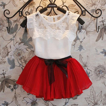 2Pcs Girl Lace Skirt Sets 4Y-13Y