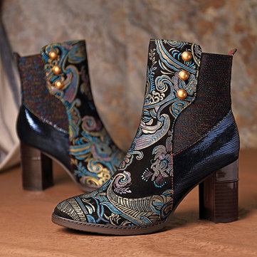 Embossed Leather Zipper Boots
