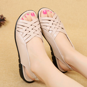 Peep Toe Soft Flat Slingback Sandals