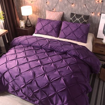 3Pcs Luxury Polyester Solid Color Bedding Set, Red black white coffee grey purple golden yellow blue