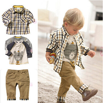 3Pcs Printed Boys Clothes Sets For 1Y-7Y
