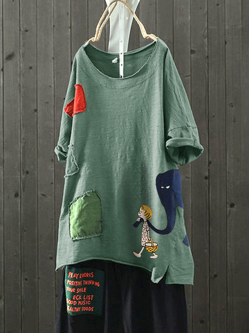 Cartoon Patchwork Patch Print T-Shirt