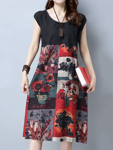 Casual Patchwork Floral Print Short Sleeve O-neck Dress For Women