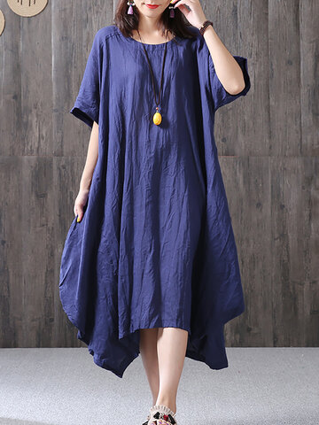 Solid Short Sleeve Irregular Loose Cotton Dresses
