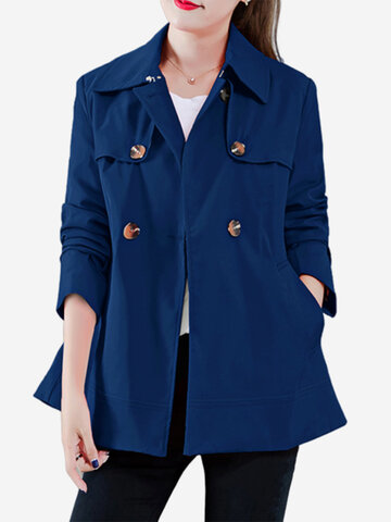 Button Solid Color Casual Jacket