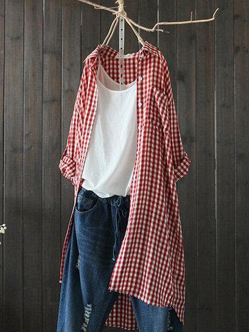 Plaid Lapel Irregular Long Shirt