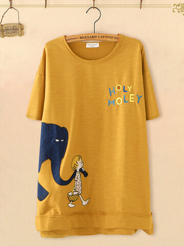 Cartoon Letter Print T-shirt