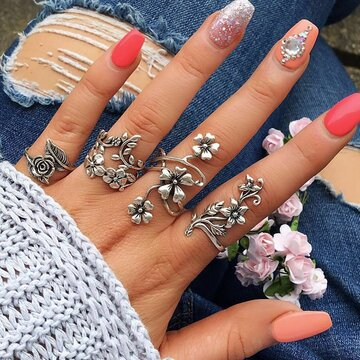 Boho 4 Pcs Silver Flower Ring Set