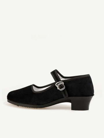 Black Square Heel Buckle Casual Shoes
