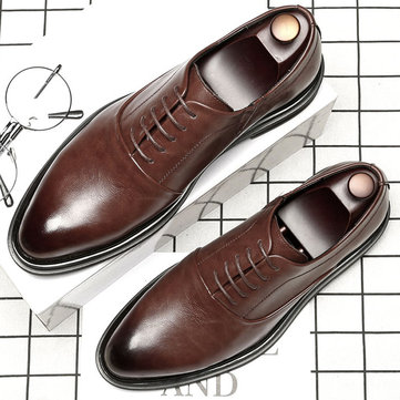Men Splicing Leather Casual Formal Shoes