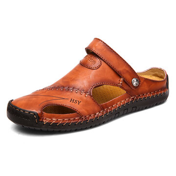 Menico Men Hand Stitching Closed Toe Leather Sandals