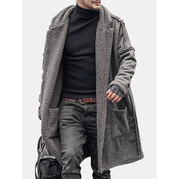 Abrigo de piel de doble lado para espesar para hombres