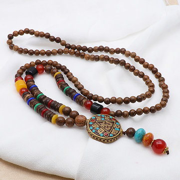 Ethnic Wood Beaded Charm Necklaces