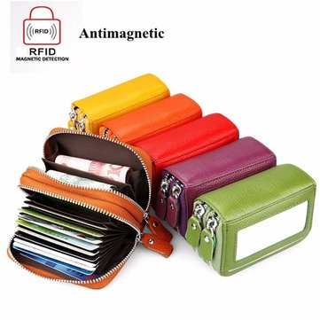 RFID Antimagnetic Leather Card Holder Purse