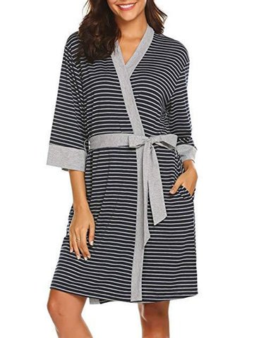 Striped Print Maternity Sleep Dress