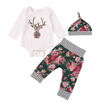 3Pcs Christmas Baby Romper Set For 0-24M