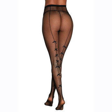 eedd803e6f4 Fishnet Bowknot See Through Stockings