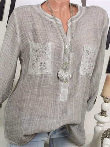 Lace Patchwork Blouses For Women