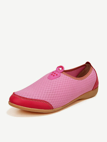Color Match Breathable Mesh Soft Sole Flat Casual Shoes For Women, White rose green orange