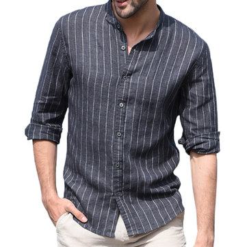 Mens Vertical Striped Stand Collar Shirts
