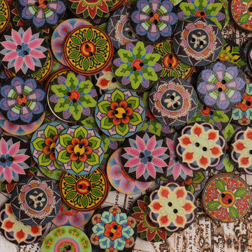 100 Pcs Colorful Flower Wooden Sewing Buttons