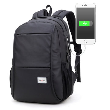 Oxford Backpack With USB Charging Port Casual Business Laptop Bag For Men, Black