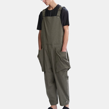 Mens Big Pockets Loose Overalls Cargo Pants