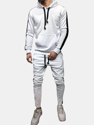Mens Side Stripe Stitching Hooded Sport Suit