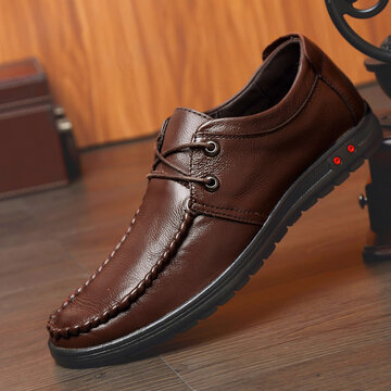 Men Moc Toe Lace Up Casual Leather Shoes