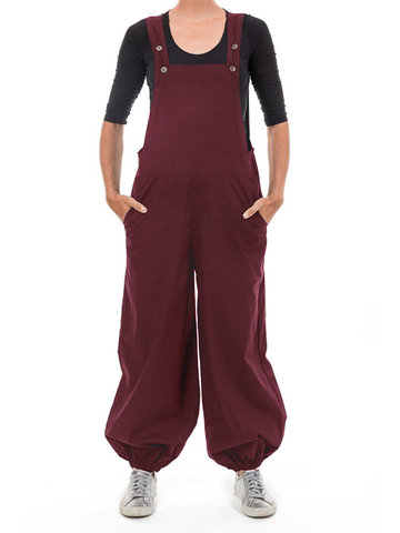 Sleeveless Solid Color Overall Jumpsuit, Wine red black