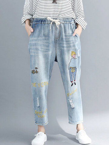 Embroidery Print Denim Pants
