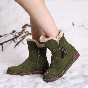 LOSTISY Round Toe Winter Boots, Camel wine red black purple green