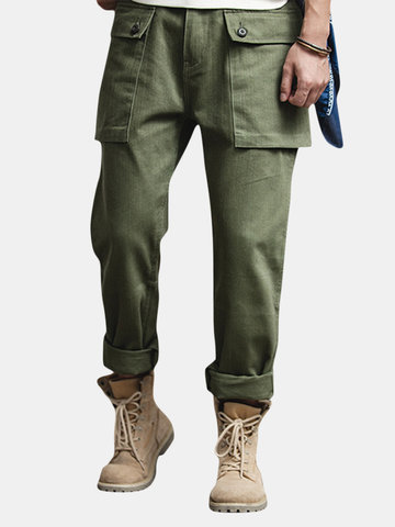 Mens Vintage Classic Big Buttons Pockets Straight Casual Cargo Pants