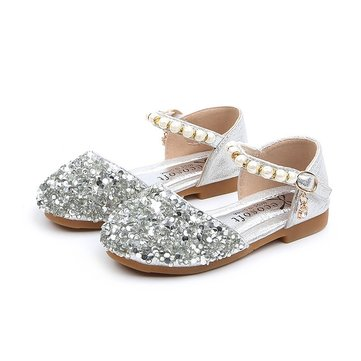 c6fef3bdd Girls Sequined Pearls Bling Flat Shoes