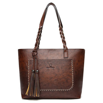 Women Faux Leather Tote Bag Tassel Leisure Shoulder Bag