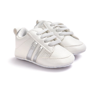 Soft Soled Sneaker For 0-24M, White silver golden pink