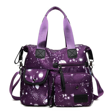 656e513d1913 Nylon Large-capacity Starry Sky Pattern Shoulder Bag Handbag