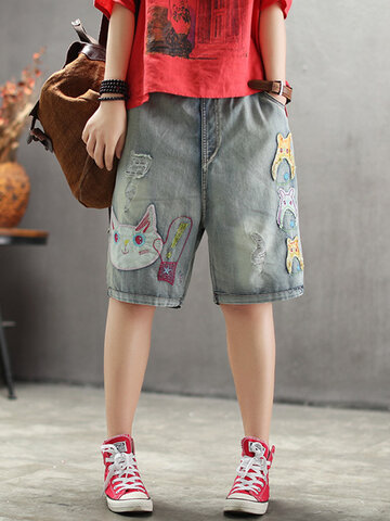 Cartoon Patch Casual Jeans Court